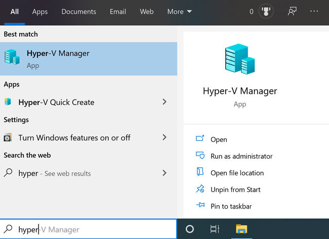 Search for hyper v in start menu