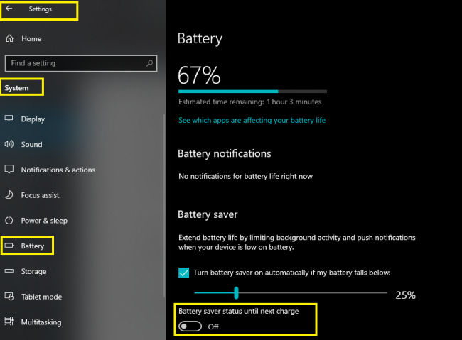 3 Ways To Turn Windows 10 Battery Saver Mode On or Off
