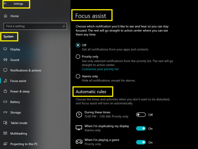 Windows 10 Focus Assist settings