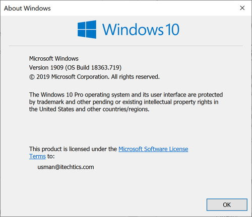 Windows 10 Version 1909 OS Build 18363 719