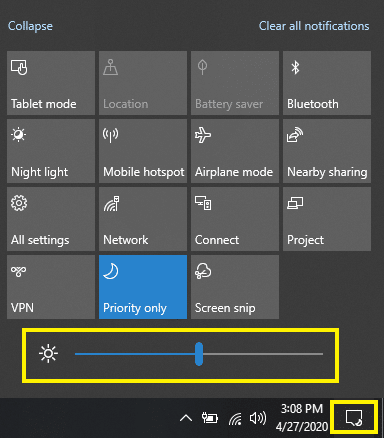 Change screen brightness using Action Center in Windows 10
