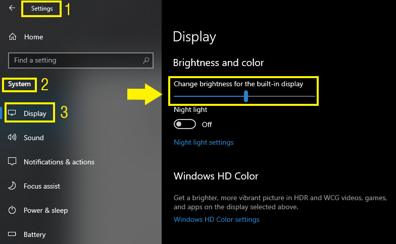 Adjusting screen brightness from Windows Settings