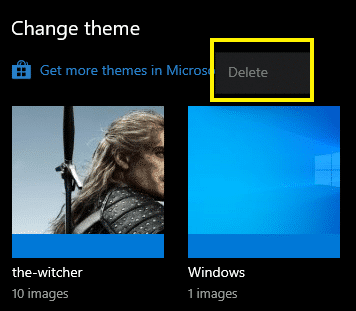 Delete Windows 10 themes