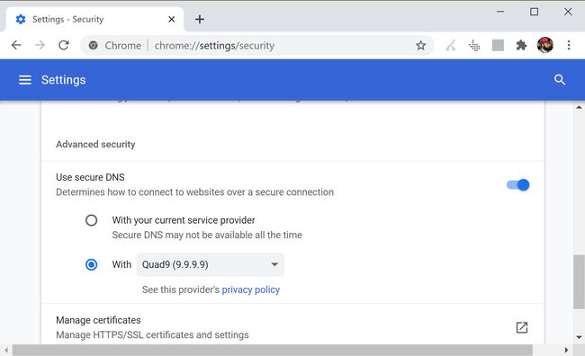 Enable secure DNS in Google Chrome