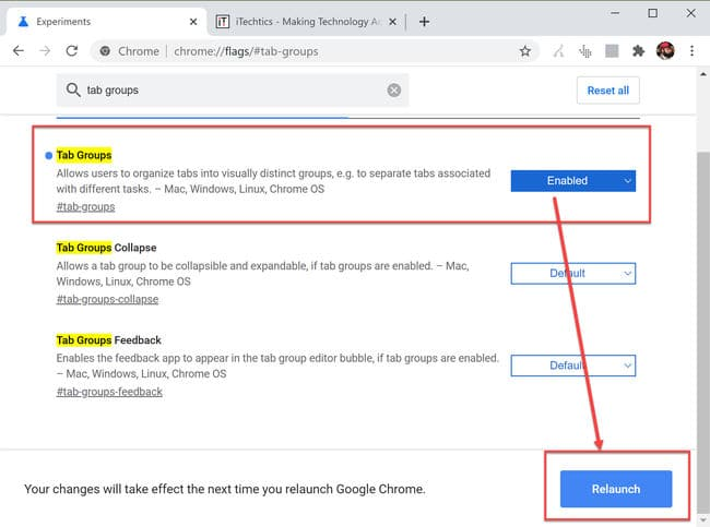 Enable tab groups in Chrome