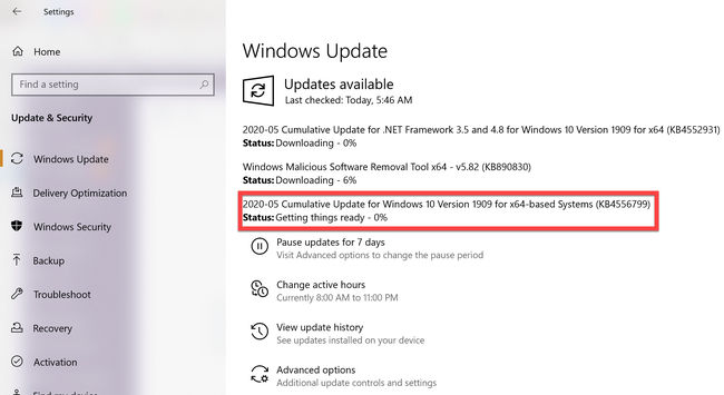 KB4556799 available for download via Windows Update