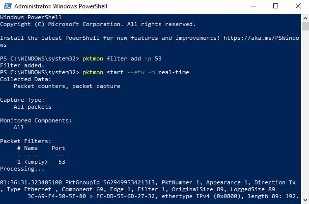 Monitoring DoH and DNS in Windows 10