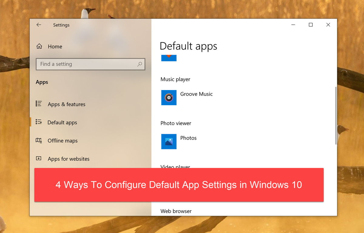 configure default apps featured