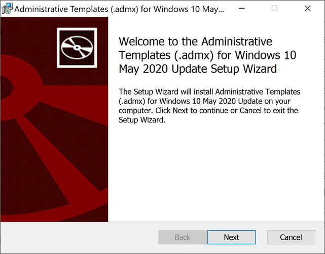 Install administrative templates admx for Windows 10 Version 2004