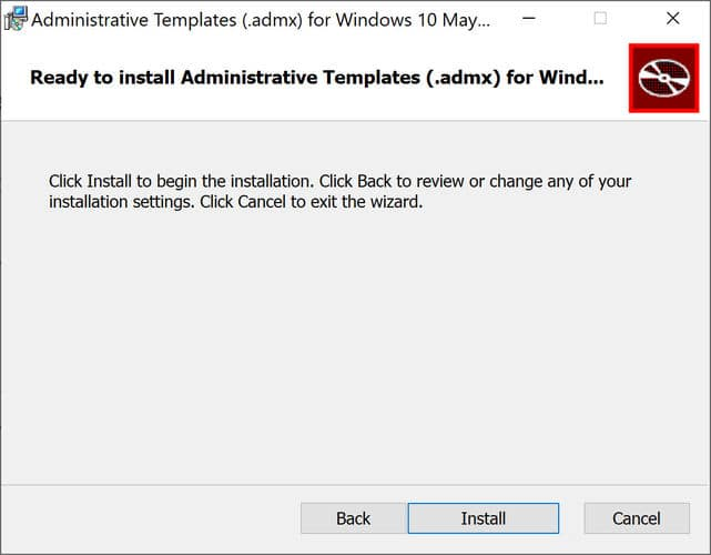 Ready to install admx templates for Windows 10 Version 2004