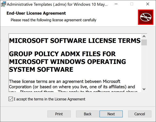 admx templates for Windows 10 Version 2004 accept license agreement