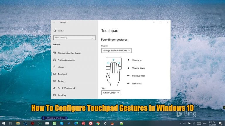 how to configure touchpad gestures in Windows 10