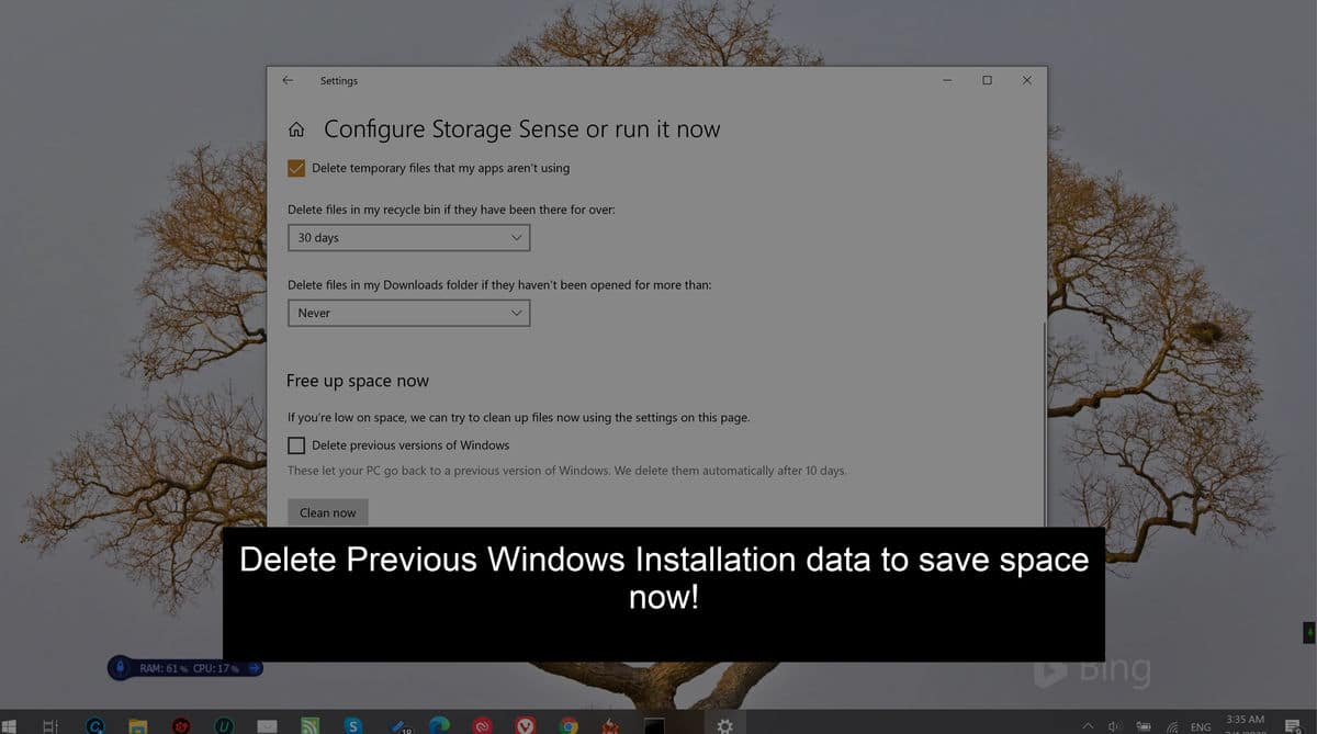 Delete previous Windows installation after Windows 10 May 2020 Update To Save Space