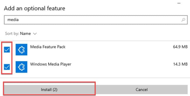 Install Media Feature Pack and Windows Media Player