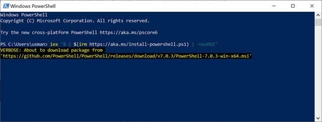 Install PowerShell using command line