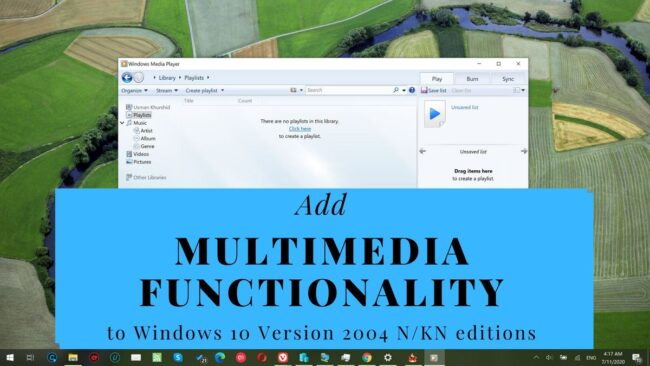 Media Feature Pack Windows 10 Version 2004