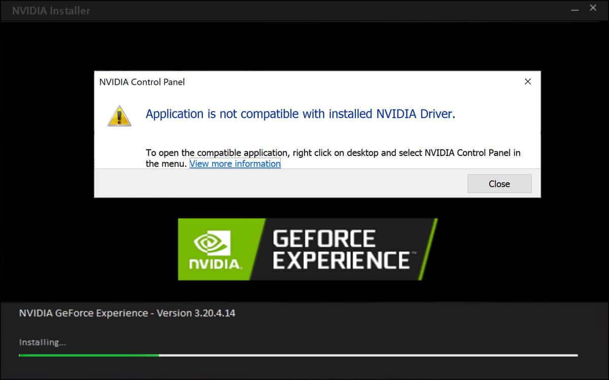Fix NVIDIA Control Panel is not compatible with installed NVIDIA Driver In Windows 10