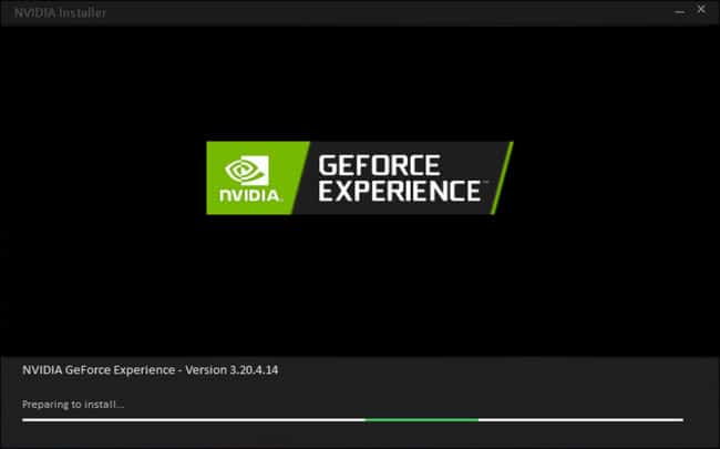 NVIDIA GeForce Experience app preparing to install