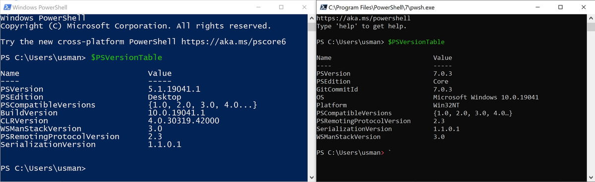 powershell and pwsh