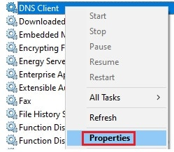 services properties context menu