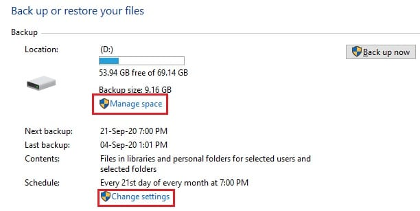 BR manage space change settings