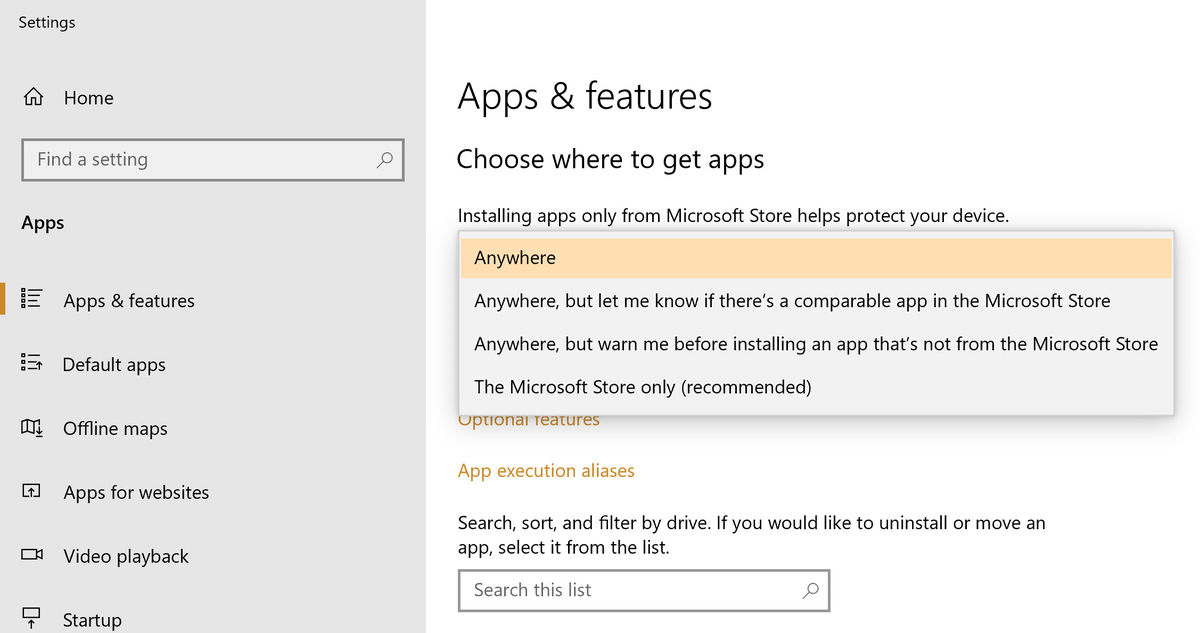 "3 Ways to fix ""Choose where to get apps"" grayed-out options in windows 10"
