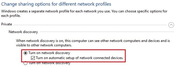 turn on network discovery private