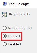 require digits enabled