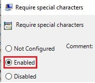 require special characters