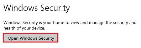 Settings open windows security