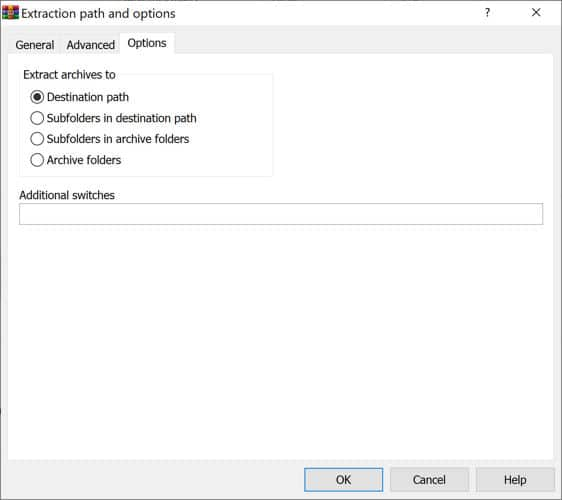 WinRAR 6 extraction options