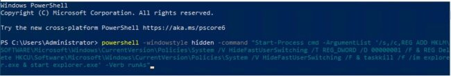 Fast user switching using PowerShell