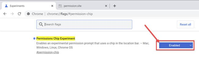 Permissions Chip in Chrome