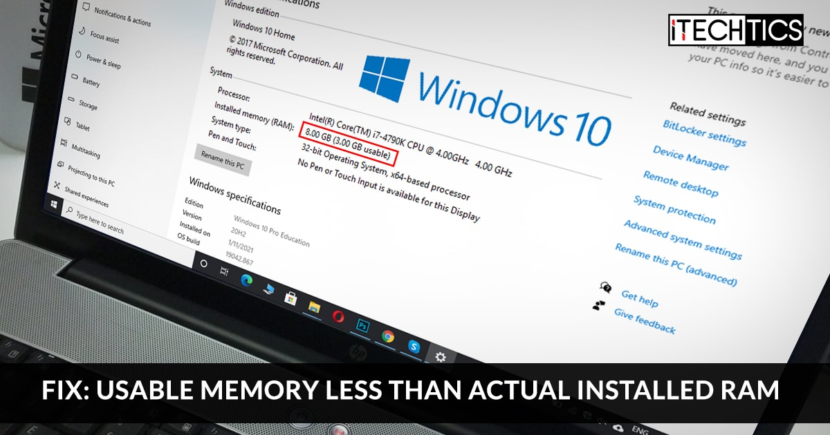 Fix Usable memory less than actual installed RAM