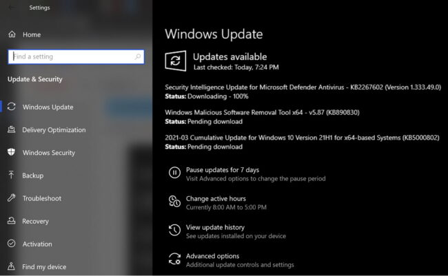 Windows Update for Windows 10 Version 21H1 KB5000802