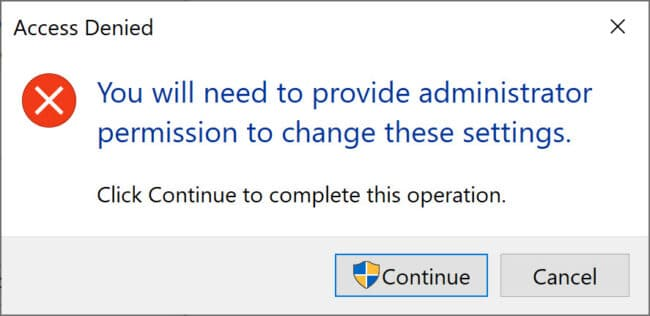 You need to provide administrator permission