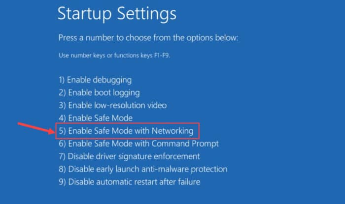 Enable safe mode with networking 1
