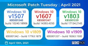 Microsoft Patch Tuesday for all Windows 10 Versions for April 2021 (Offline Installers)