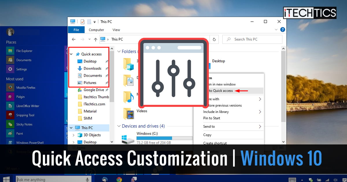 How To Customize Quick Access In Windows 10 (Navigation Pane And Toolbar) 1