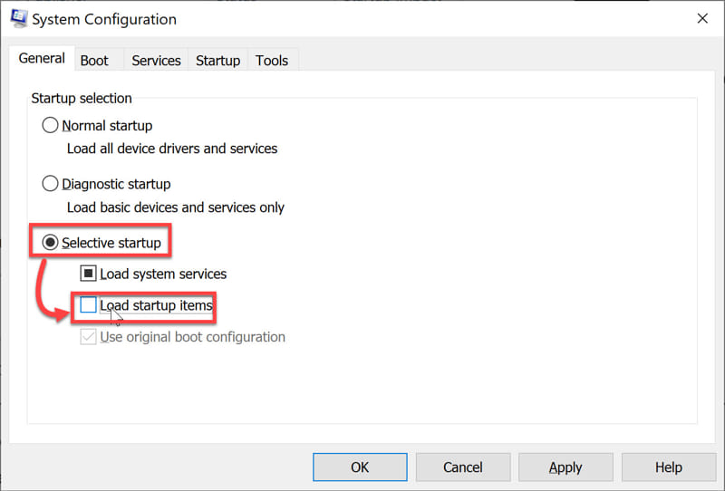 Disable all Startup items msconfig