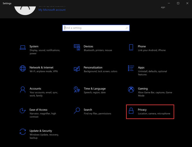 Windows Settings Privacy options