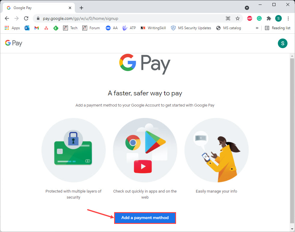 gpay add payment method